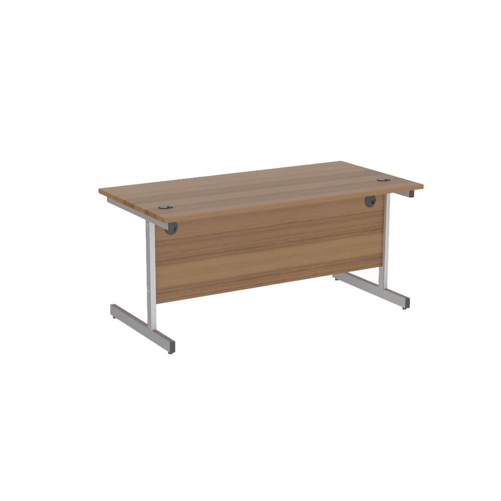 Jemini 1200x800mm Dark Walnut/Silver Single Rectangular Desk