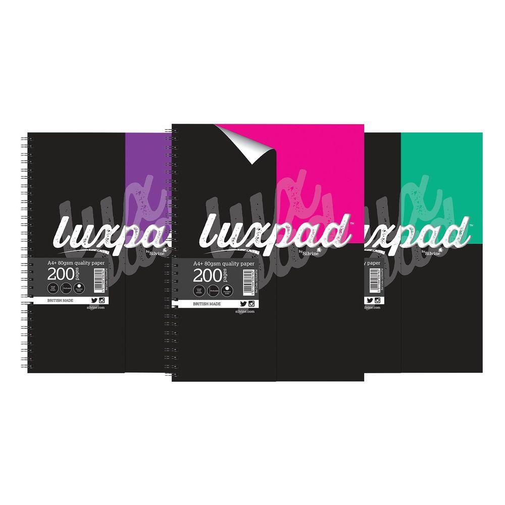 Silvine Luxpad Printed Hardback Notebook A4 Plus (Pack of 3) LUXA4FM