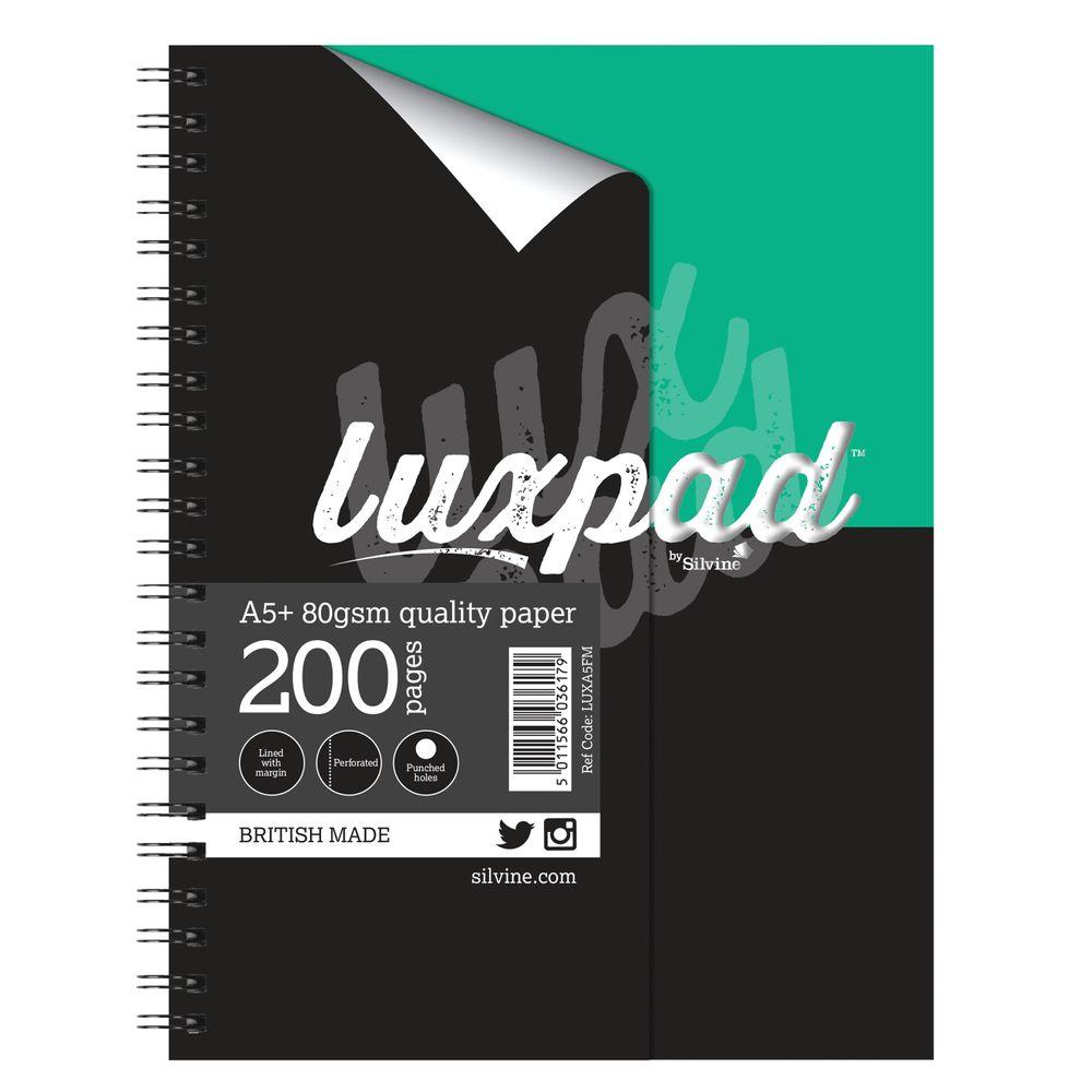 Silvine Luxpad Printed Hardback Notebook A5 Plus (Pack of 3) LUXA5FM
