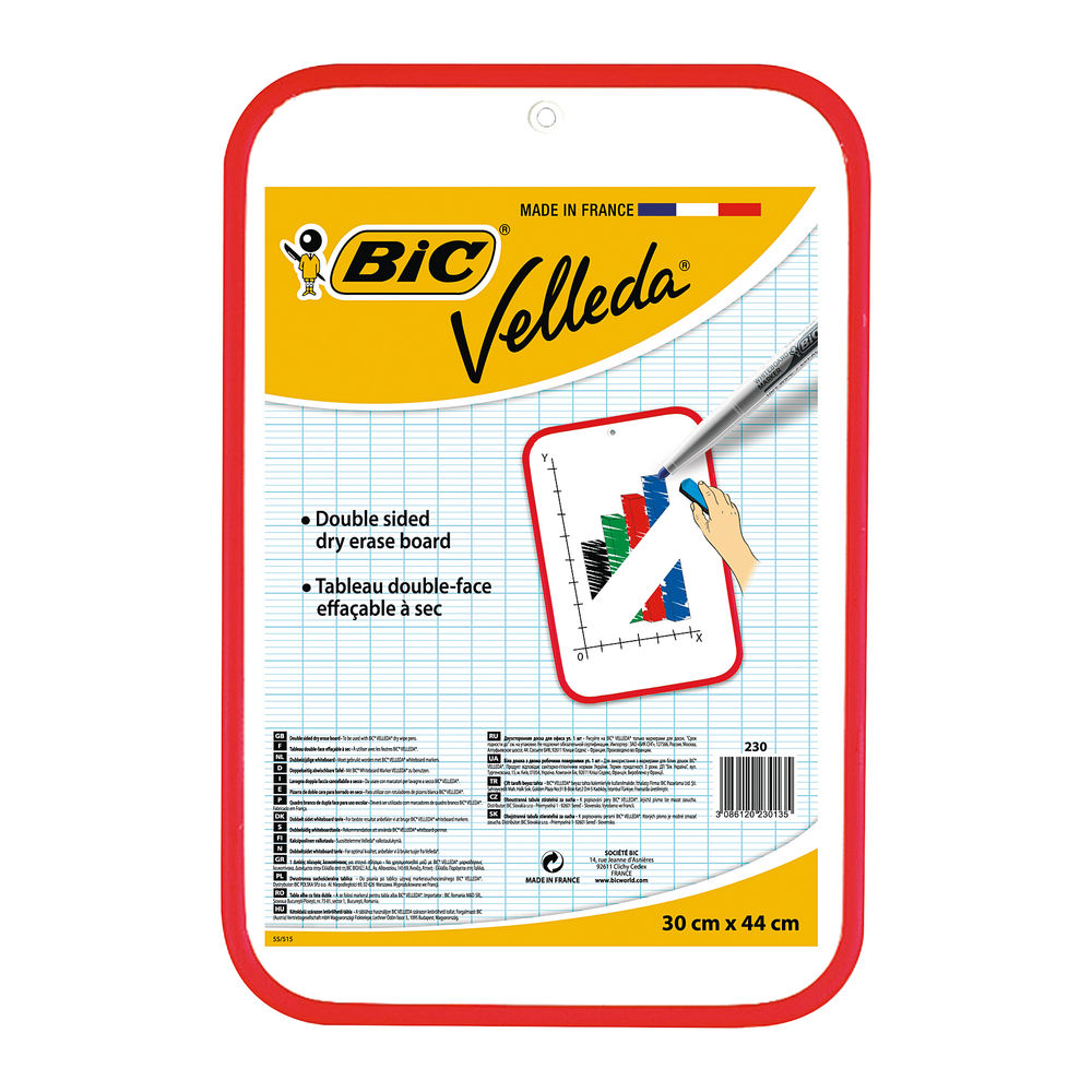 BIC Velleda Red Double-Sided Whiteboard 300x440mm - 812105