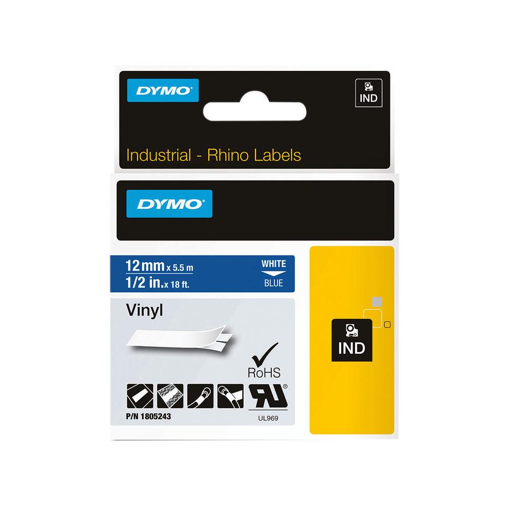 Dymo 18444 Rhino Black on White Label Printer Tape 12mm S0718600