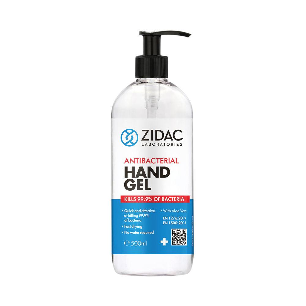 Zidac Antibacterial Alcohol Hand Gel 500ml (Pack of 6) 5060748720139