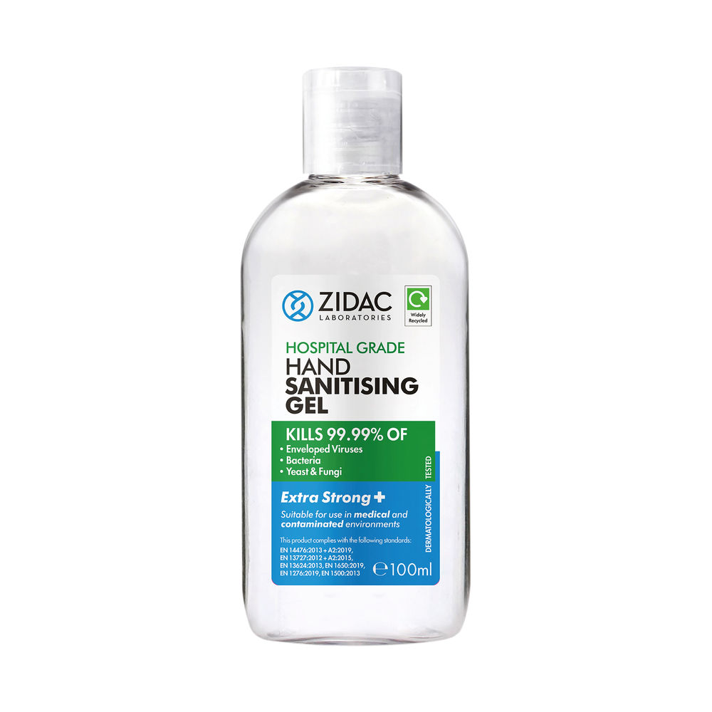 Zidac Hand Sanitising 80 Alcohol Gel 100ml (Pack of 12) 5060748720153