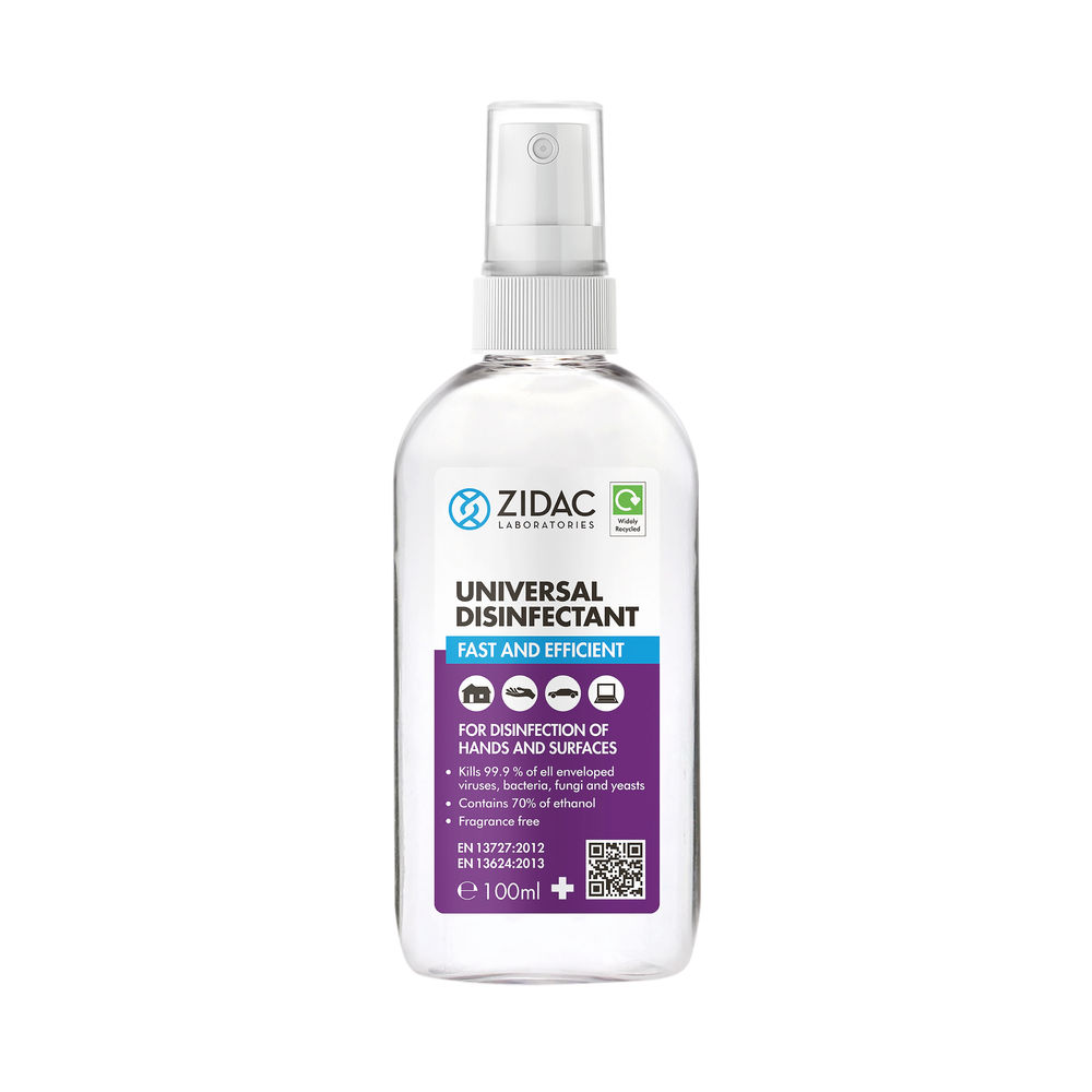 Zidac Universal Disinfectant 100ml Bottle (Pack of 12) 5060748720443