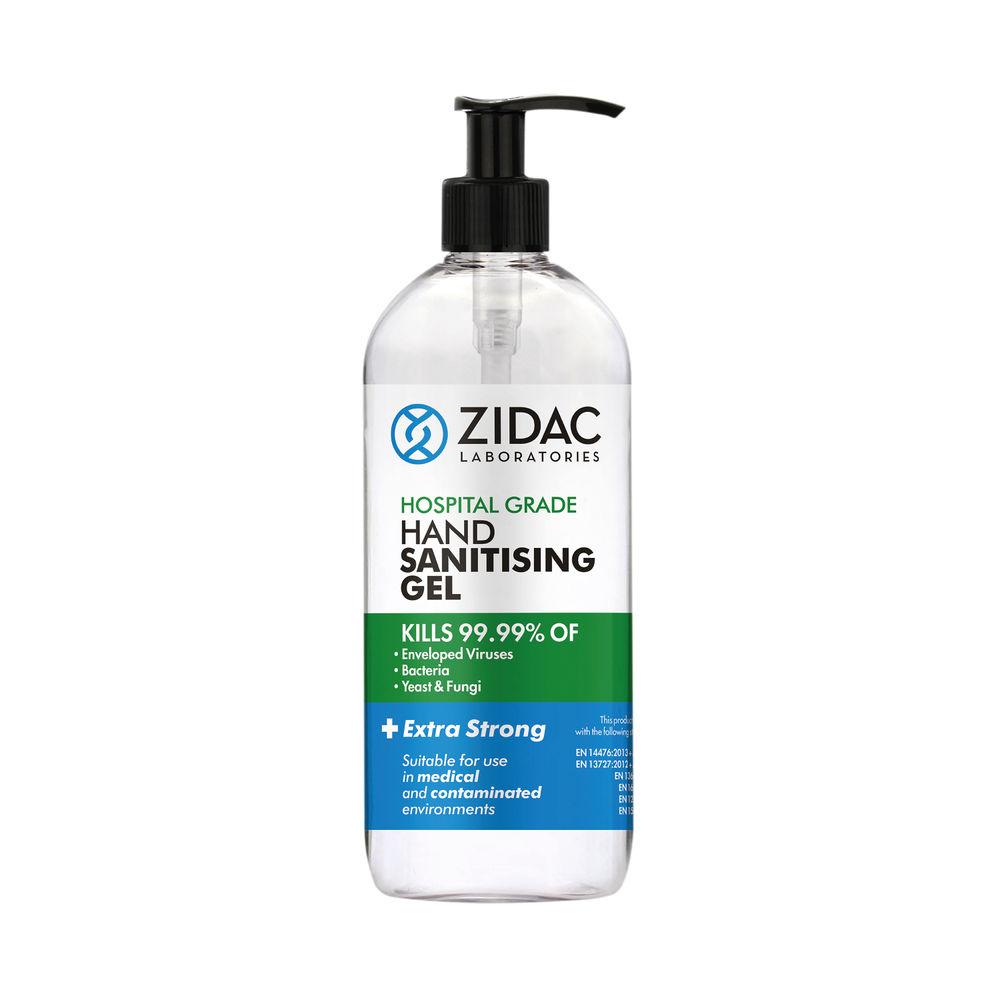 Zidac Hand Sanitising Alcohol Gel 500ml (Pack of 6) 5060748721976