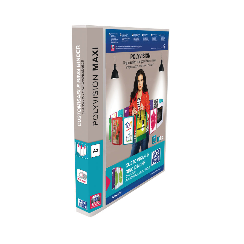 Elba Polyvision Clear A3 Upright Maxi 4 D-Ring Binder 30mm, Pack of 5 - BX70967