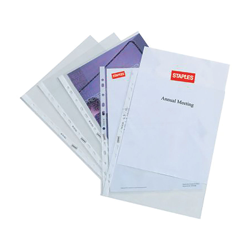 Staples Punched Pocket A4 Clear 80 Micron Polypropylene (Pack of 25) 100742044