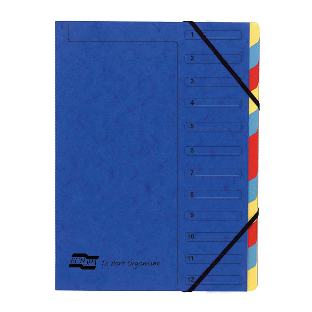 Exacompta Nature Future Elasticated 12-Part File Blue 54122E