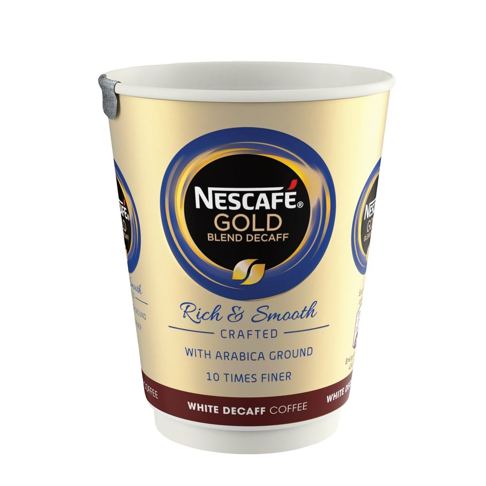 Nescafe and Go Gold Blend Decaffeinated White Coffee Cups - Pk8 12310643