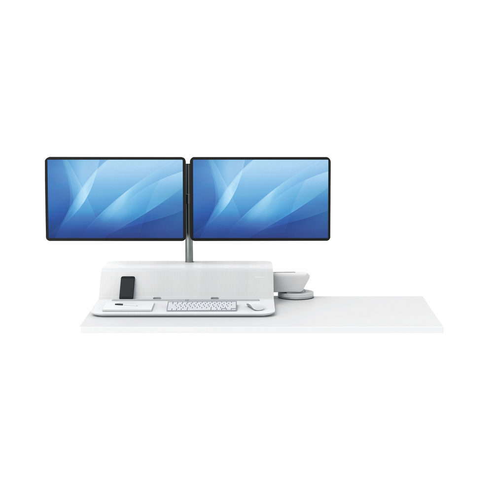 Fellowes Lotus White Dual Screen Sit Stand Work Station - 8081801