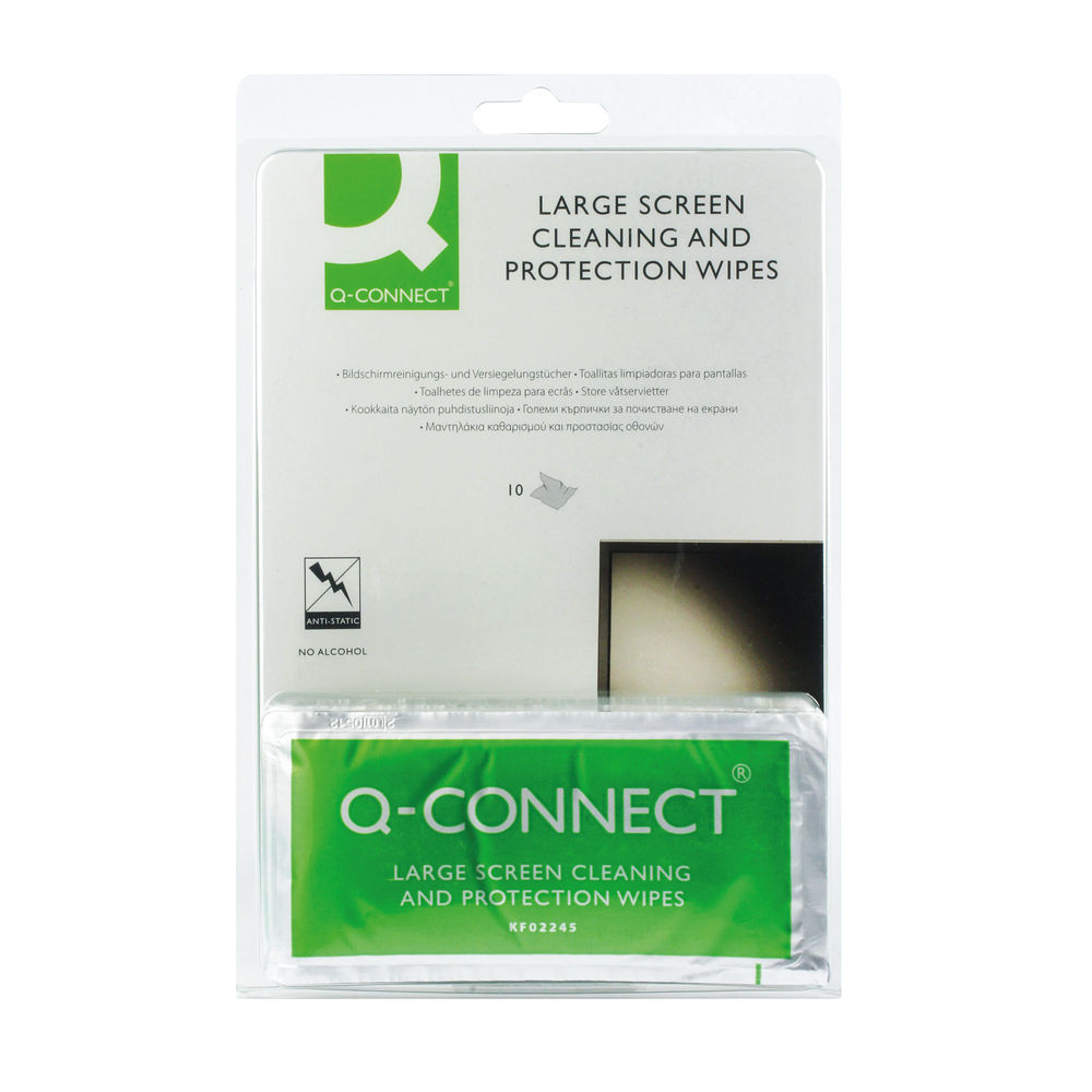 Q-Connect Large Screen and Protection Wipes, Pack of 10   KF02245A