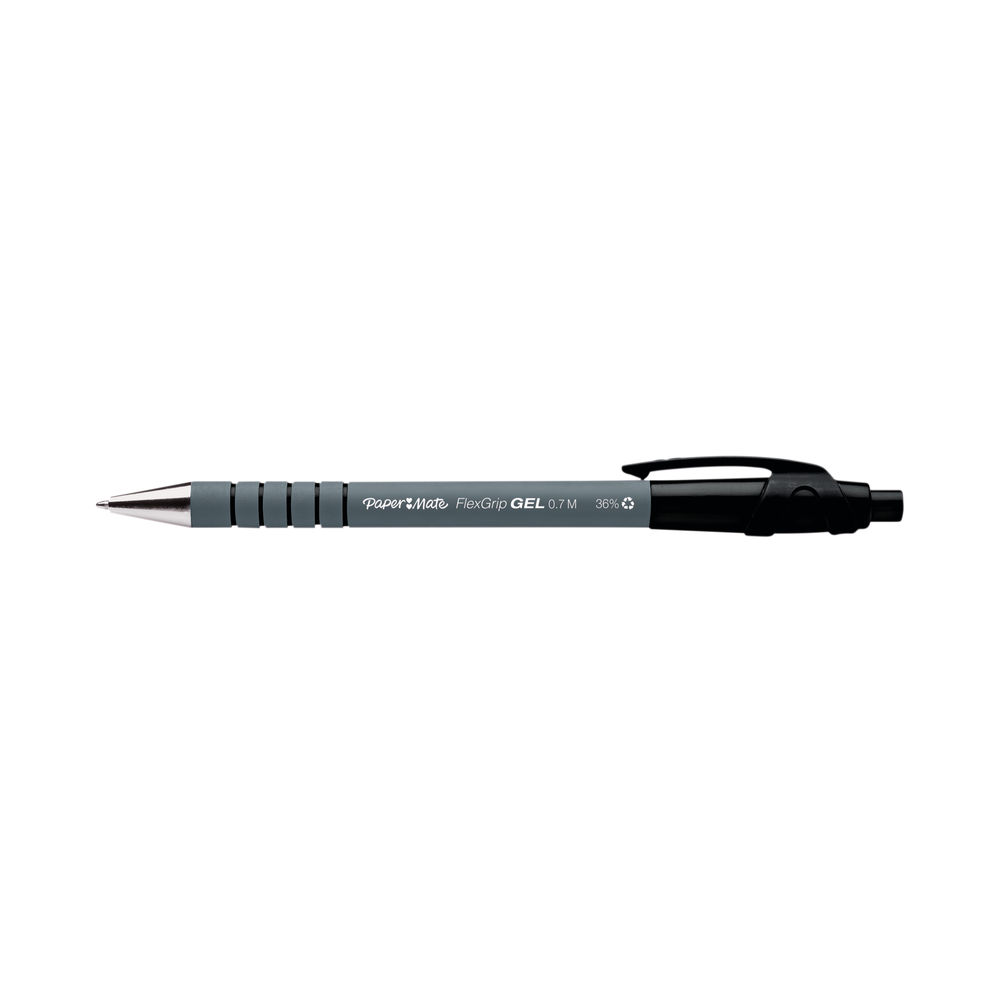 PaperMate Black FlexGrip Retractable Gel Pens (Pack of 12) - 2108217