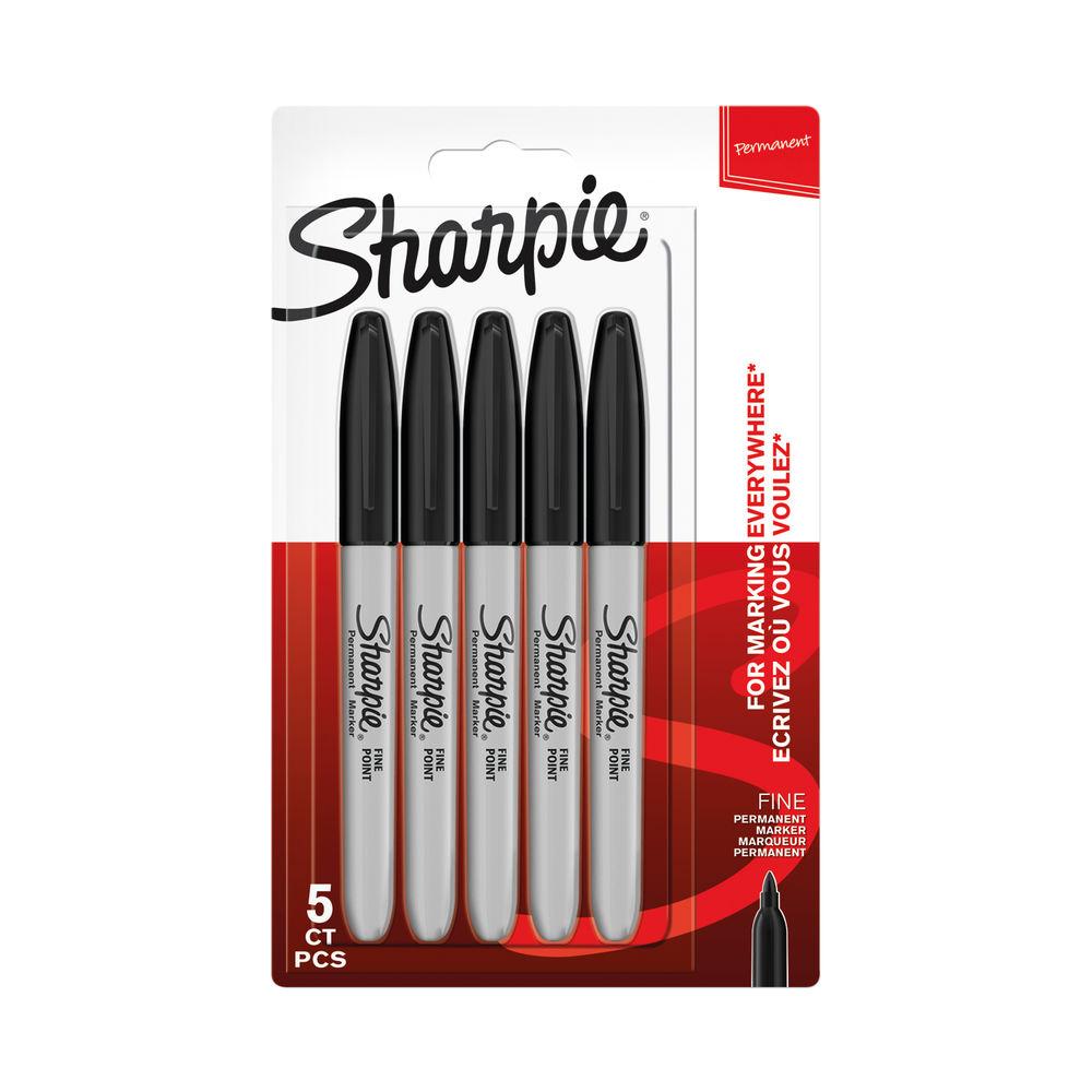 Sharpie Permanent Marker Fine Black (Pack of 5) 1986051