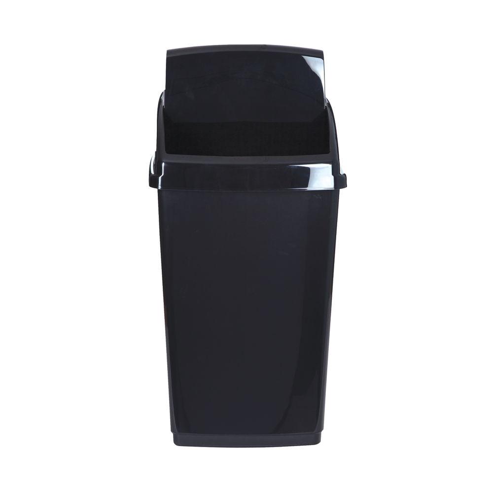 2Work Swing Top Bin 30 Litre Capacity Black 2W810011