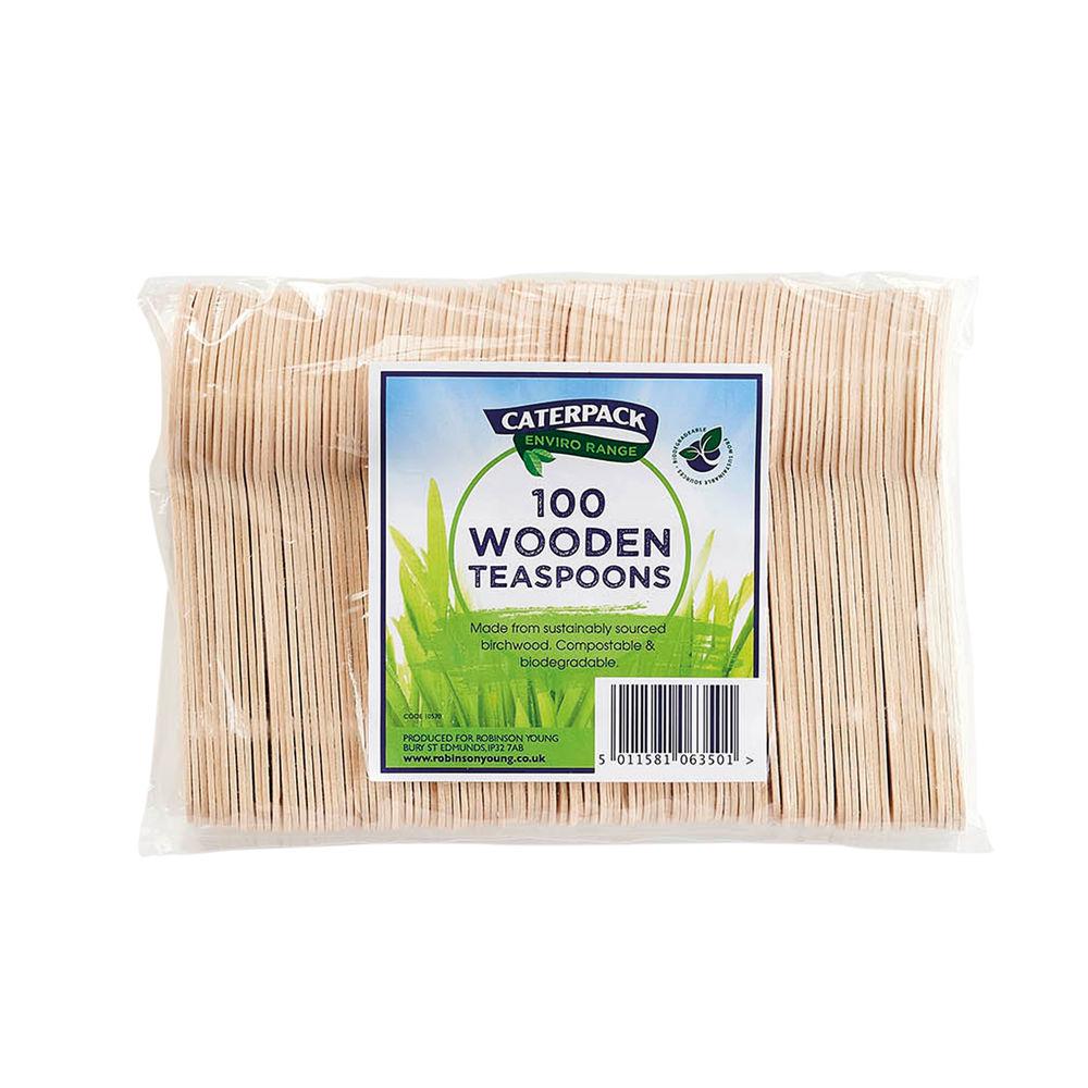 Caterpack Enviro Wooden Teaspoons (Pack of 100) RY10570