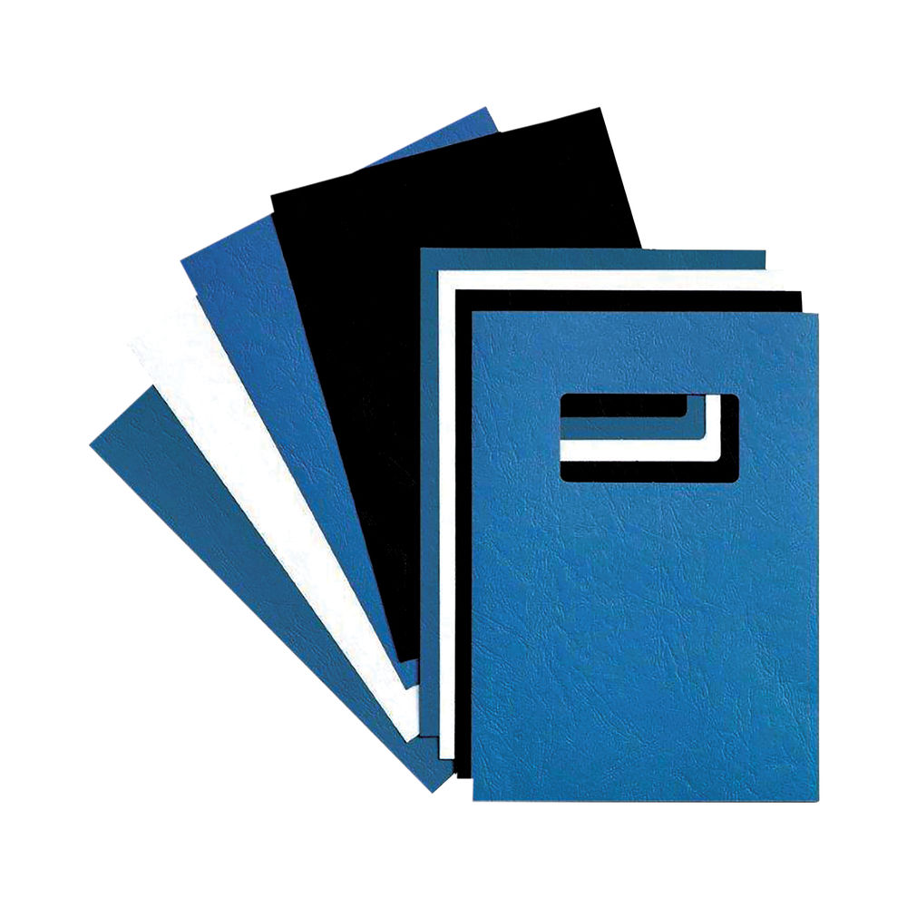 GBC LeatherGrain A4 Binding Cover 250 gsm Blue (Pack of 50) 46735E