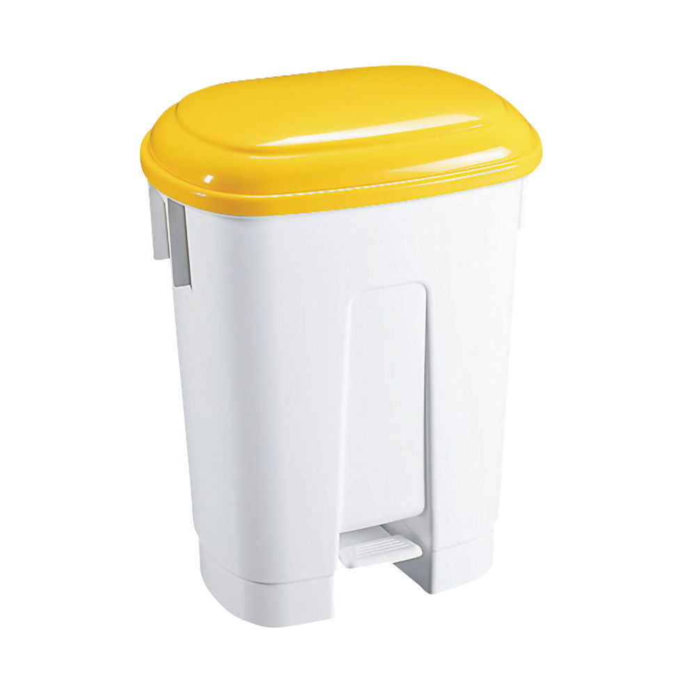 Derby Plastic Pedal Bin 30 Litre White/Yellow 348023
