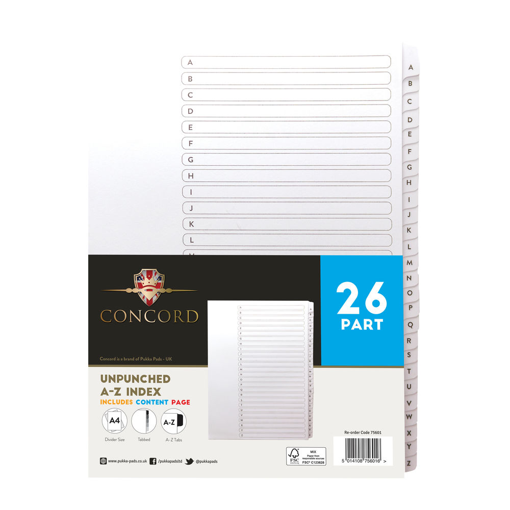 Concord White, A-Z Mylar Tabs A4 Index Dividers - Pack of 5 - 75601