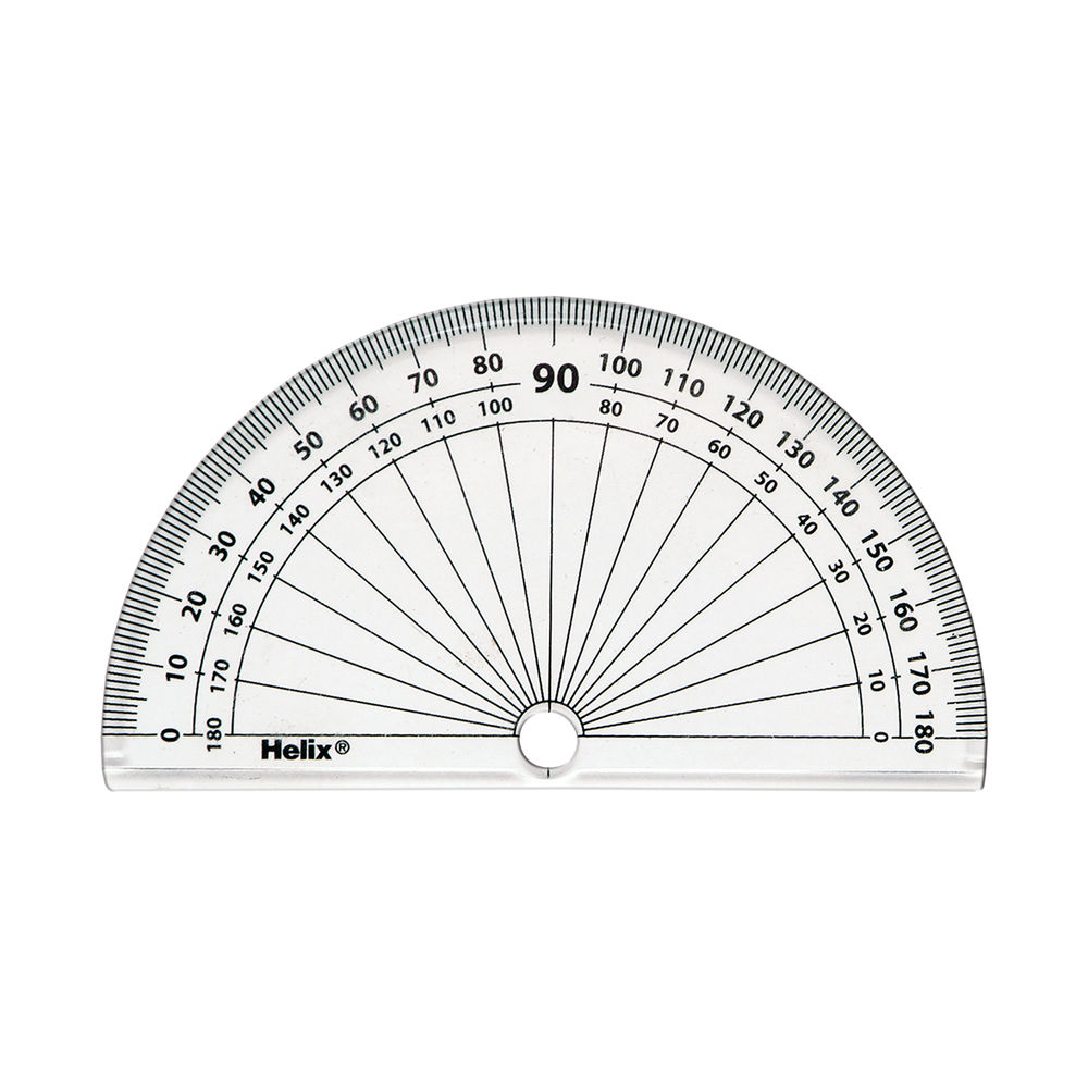 Helix 10cm 180 Degree Protractor Clear (Pack of 50) H02040