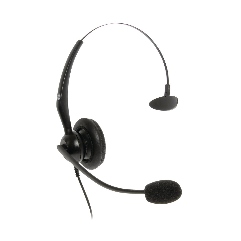 JPL JACPLUS Monaural Adjustable Headband RJ11 Connector Clothing Clip Black JAC-PLUS-RJ11-M