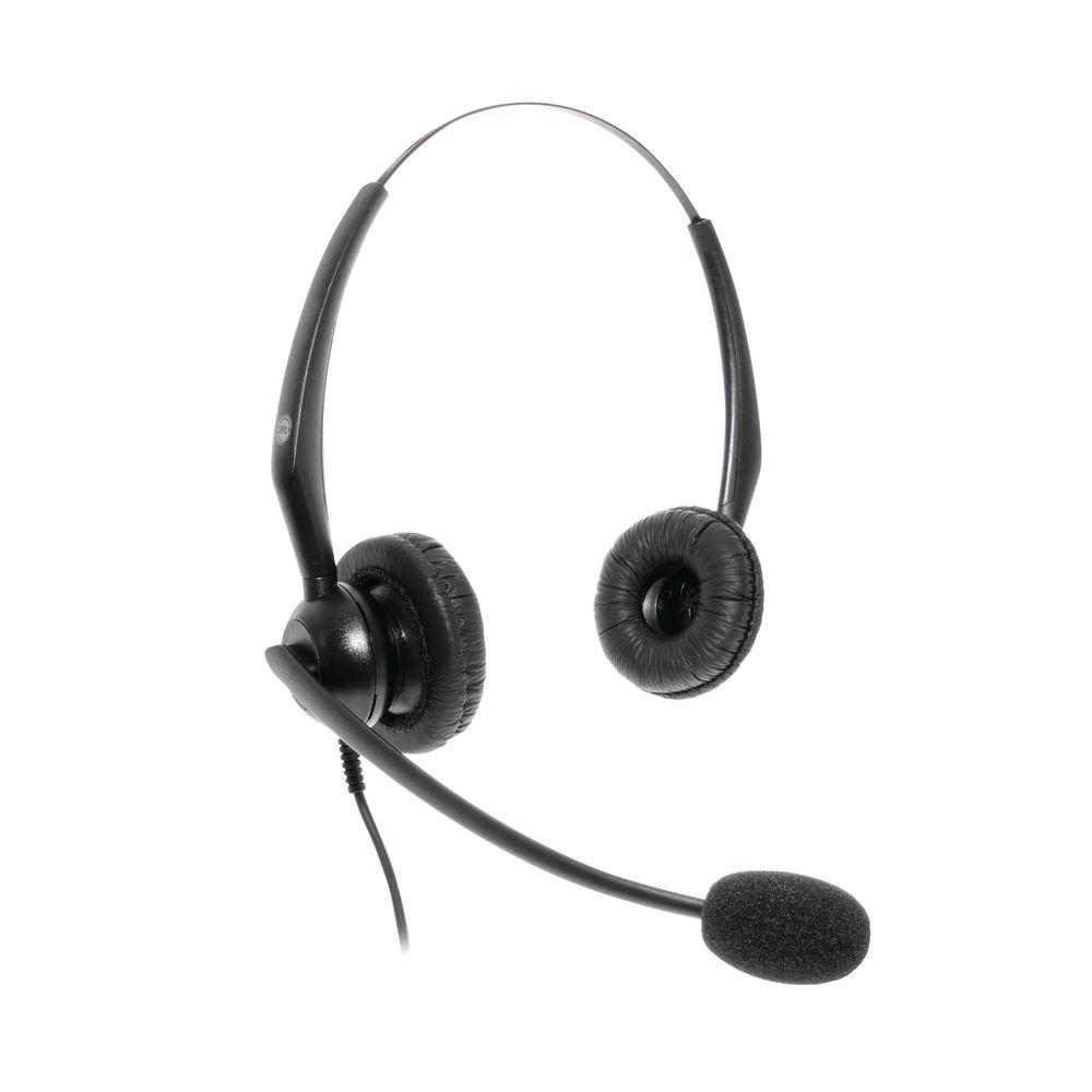JPL JACPLUS Binaural Adjustable Headband RJ11 Connector Clothing Clip Black JAC-PLUS-RJ11-B