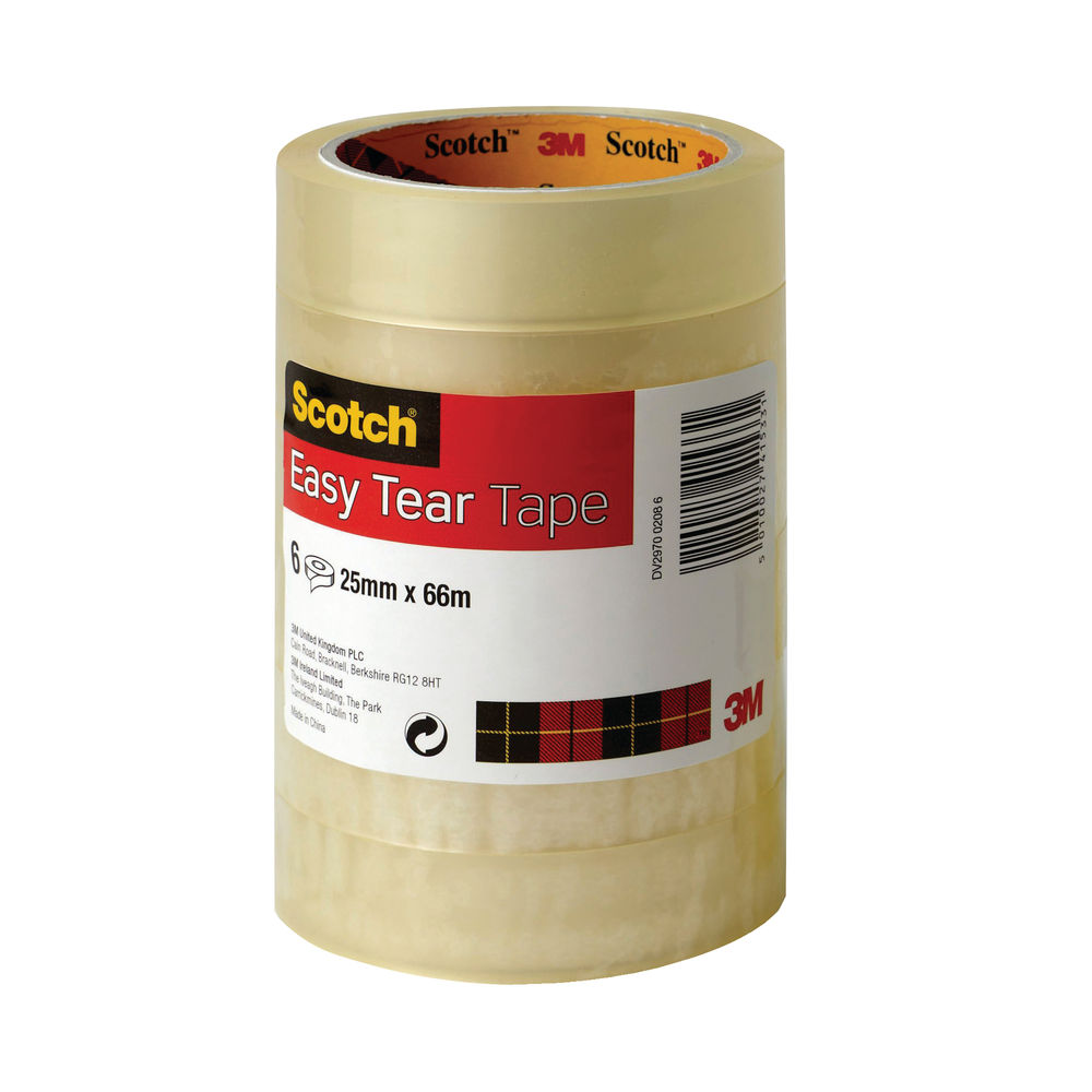 Scotch Easy Tear Clear Tape 25mm x 66m (Pack of 6) ET2566T6
