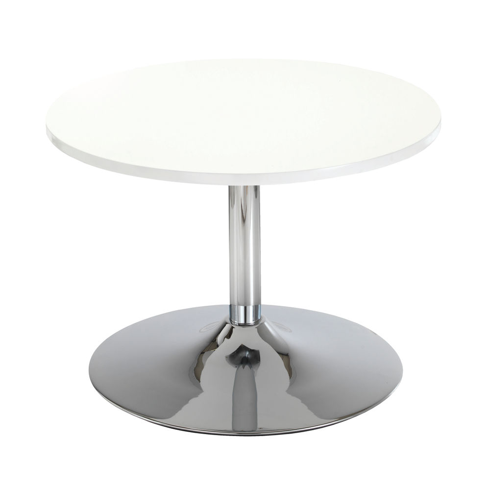 Jemini 800mm White Trumpet Base Low Bistro Table