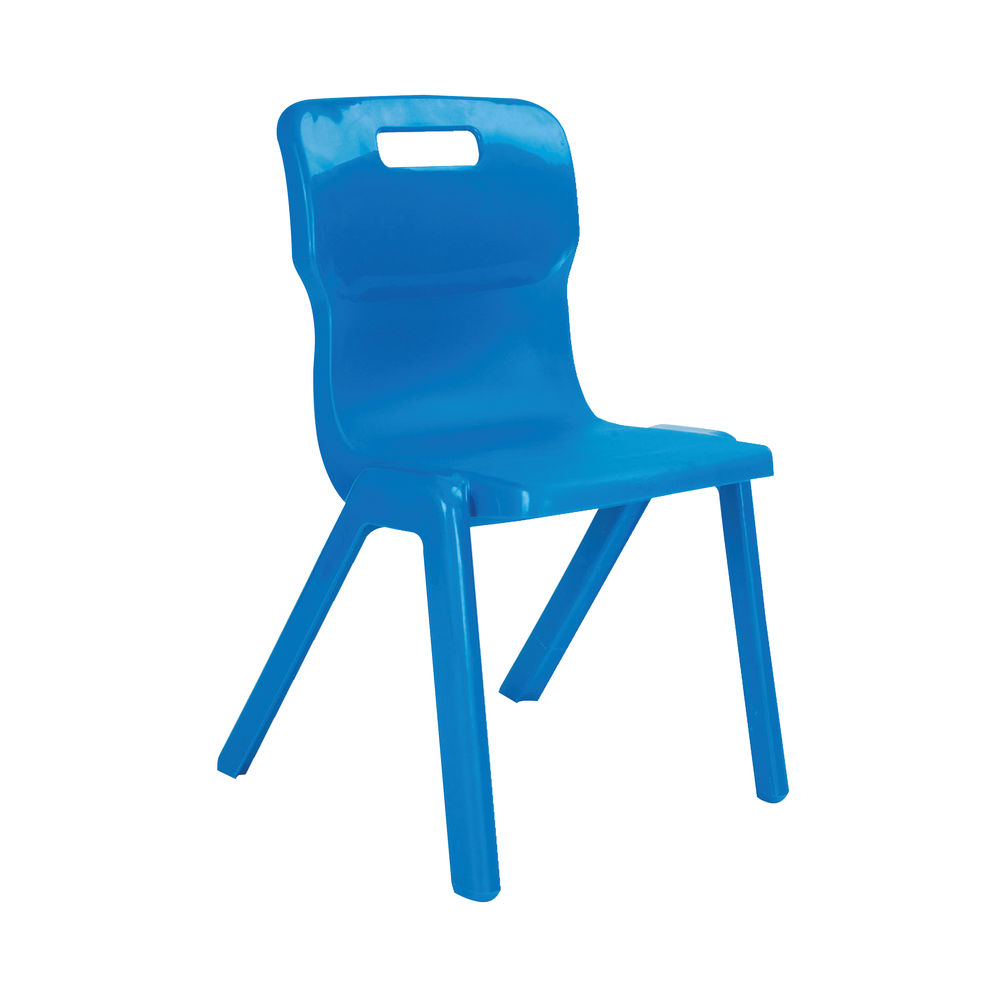 Titan 380mm Blue One Piece Chairs, Pack of 10
