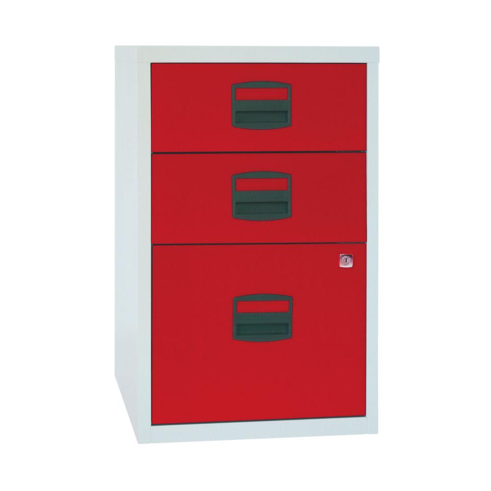 Bisley 672mm Grey/Red Home 3 Drawer Filing Cabinet - PFA3-8794