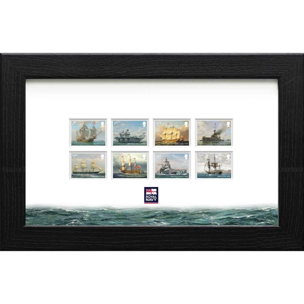 The Royal Navy Ships Framed Stamp Set