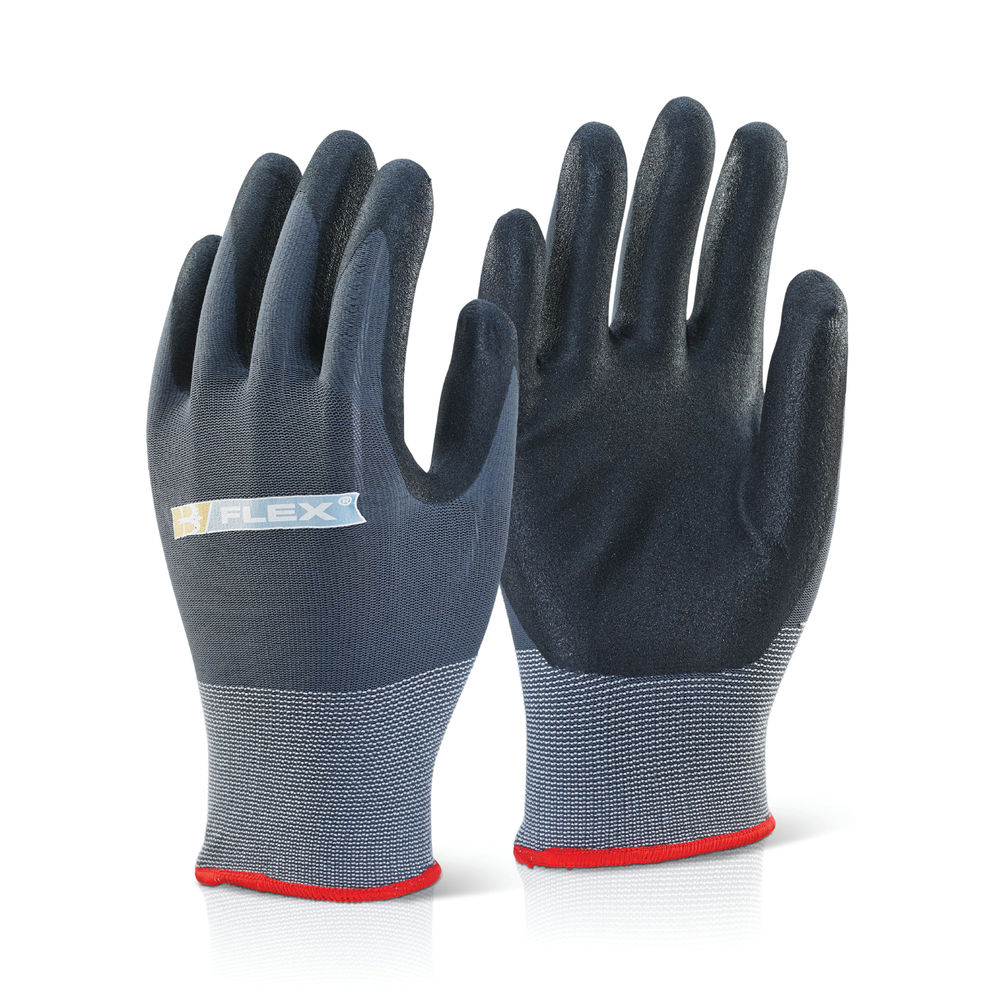 B Flex Knitted Nylon Nitrile PU Coated Pair of Gloves Large BF1L