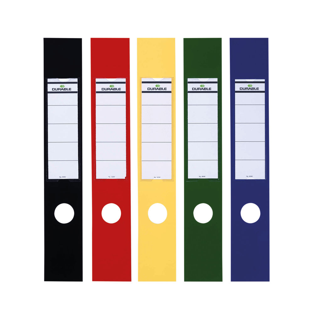 Durable Assorted Ordofix Lever Arch Spine Labels, Pack of 10 - 8090/00