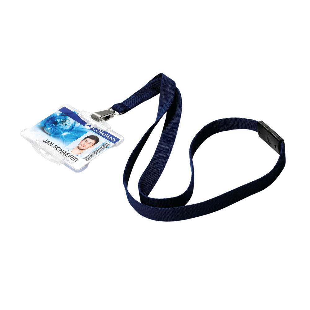 Durable Textile Lanyard With Snap Hook 15mm Midnight Blue (10 Pack) 812728