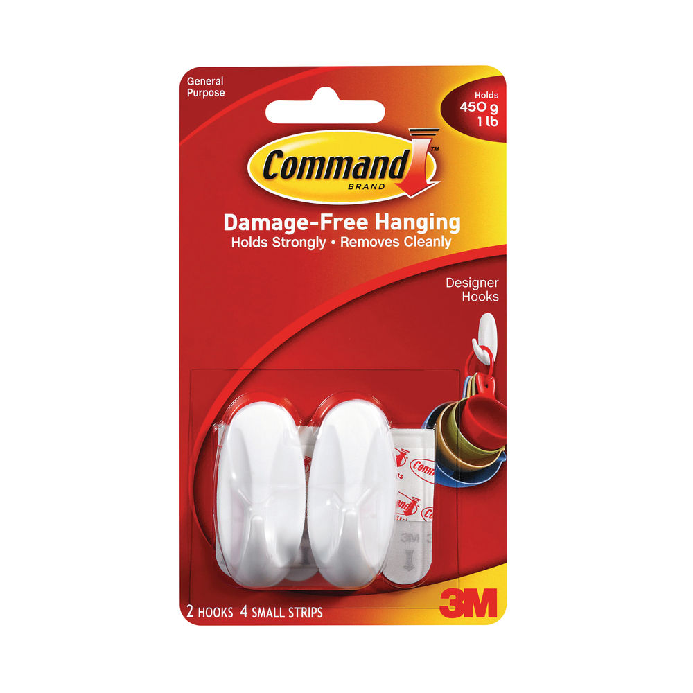3M Command Small Oval Hooks With Command Adhesive Strips 17082