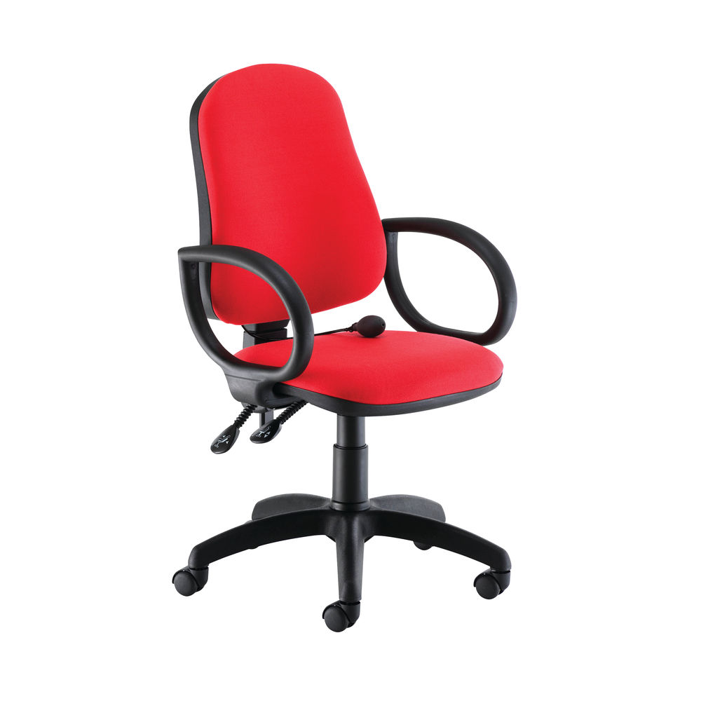 Jemini Intro High Back Posture Chair Fixed Arms in Red
