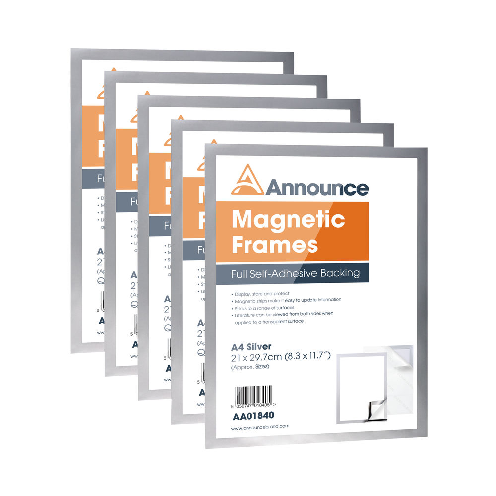 Announce Silver A4 Magnetic Frames, (5 Pack) - AA01841