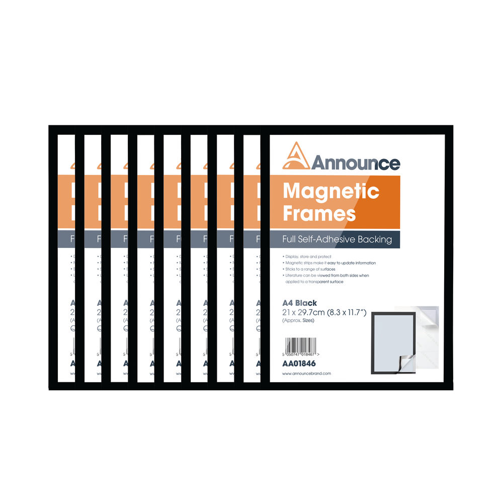 Announce Black A4 Magnetic Frames, Pack of 10 - AA01848