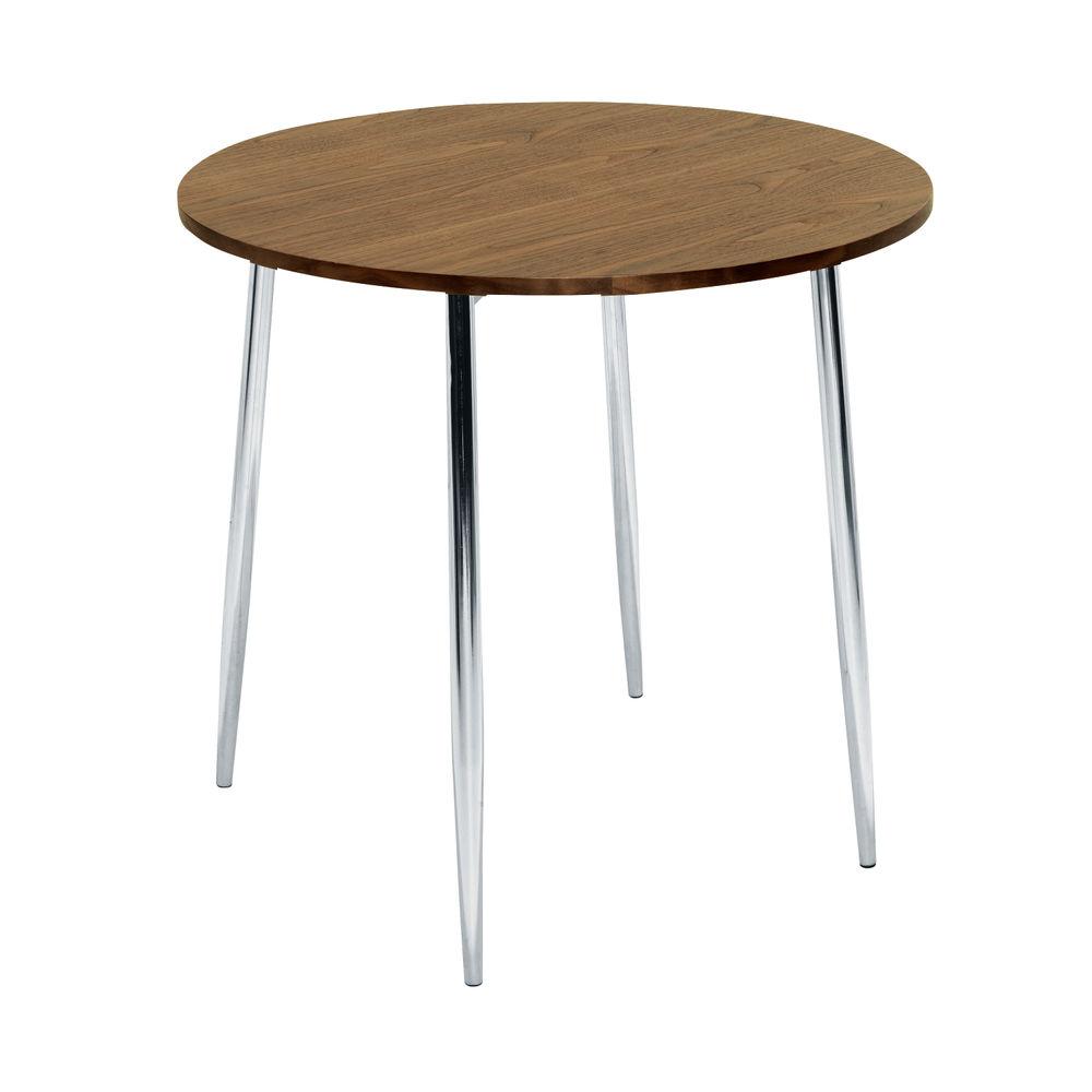 Jemini 800mm Walnut/Chrome Round Bistro Table