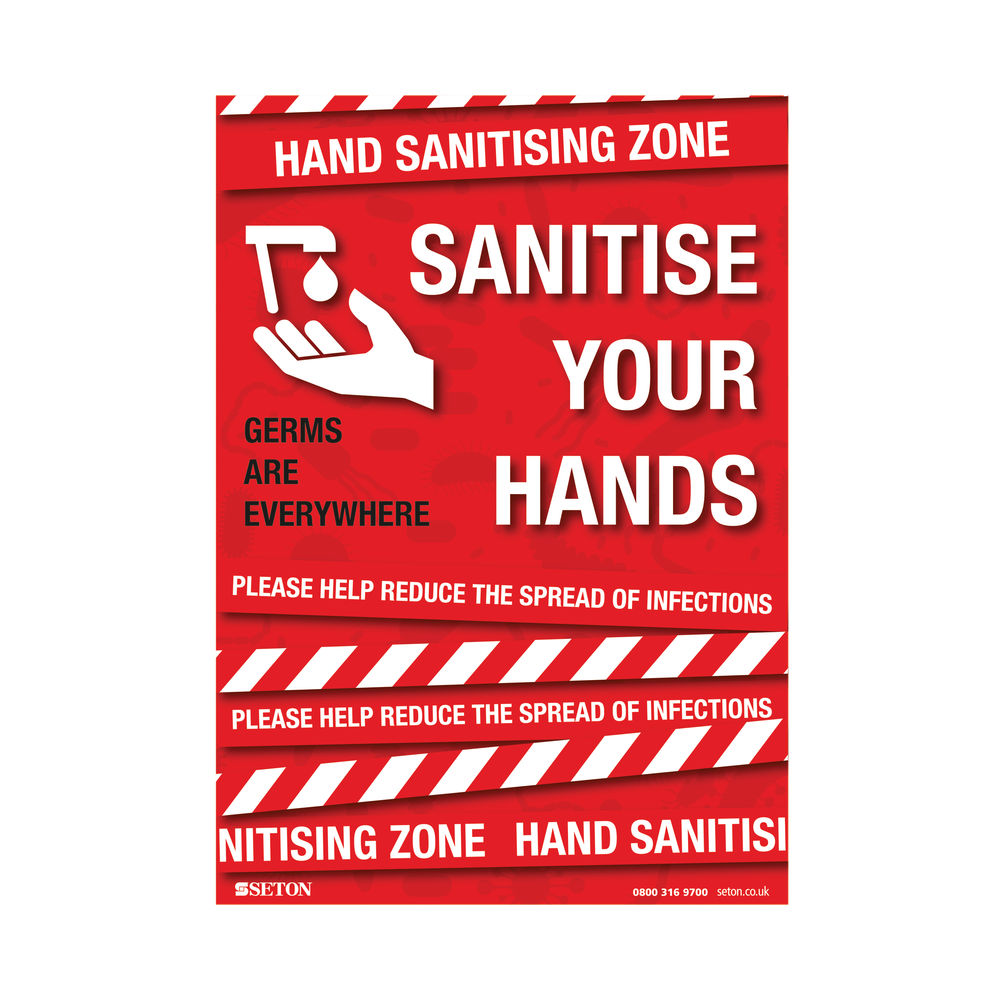 Sanitise Your Hands A3 Adhesive Sign - FA064A3ARP