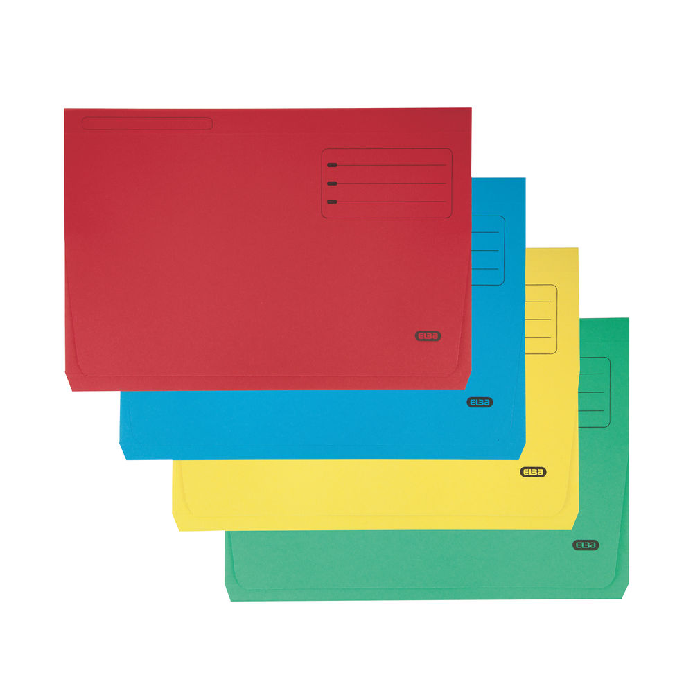 Elba Strongline Foolscap Assorted 32mm Document Wallets, Pack of 25 - 26610
