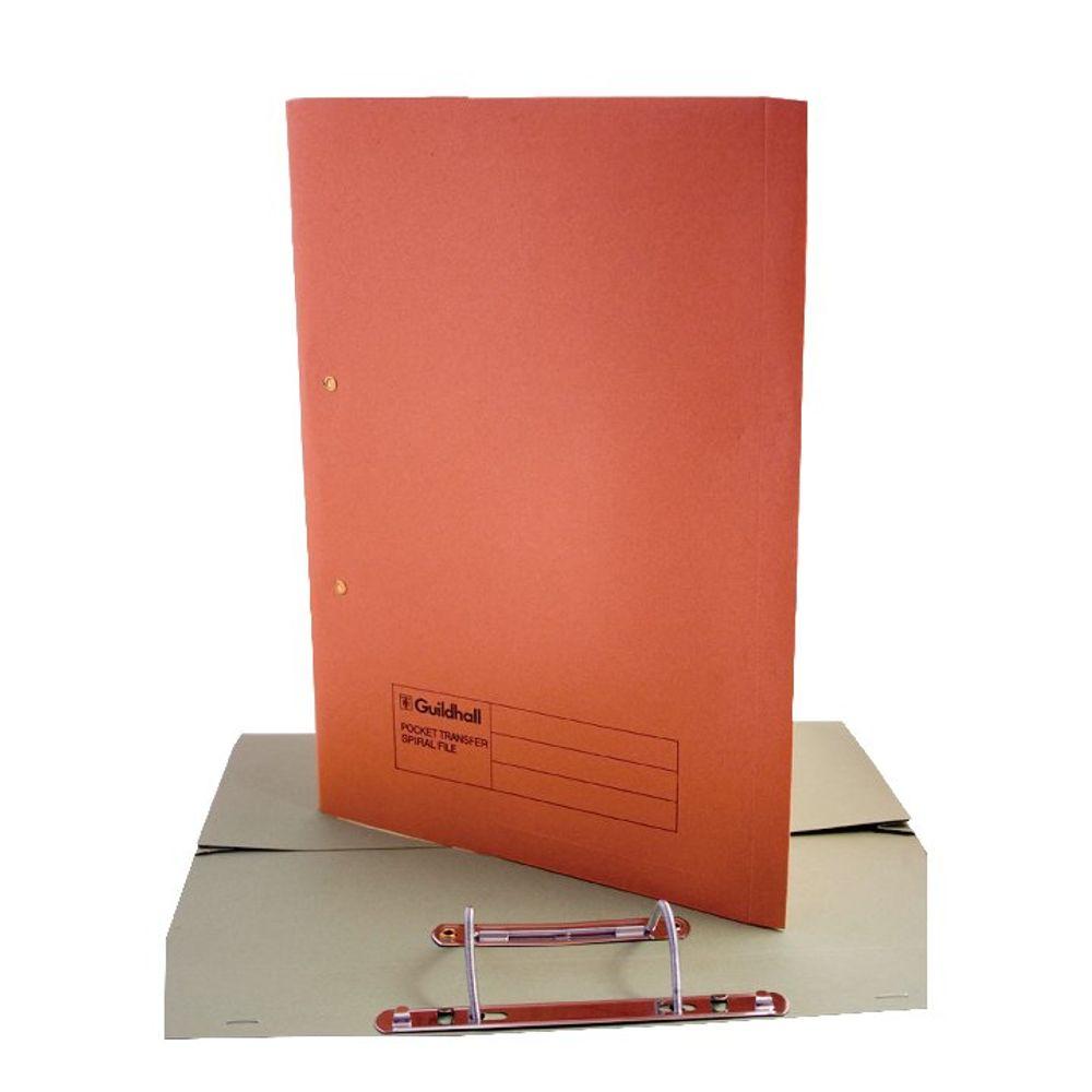 Guildhall Foolscap Orange Transfer Spiral Pocket Files 420gsm, Pack 25 - GH23037