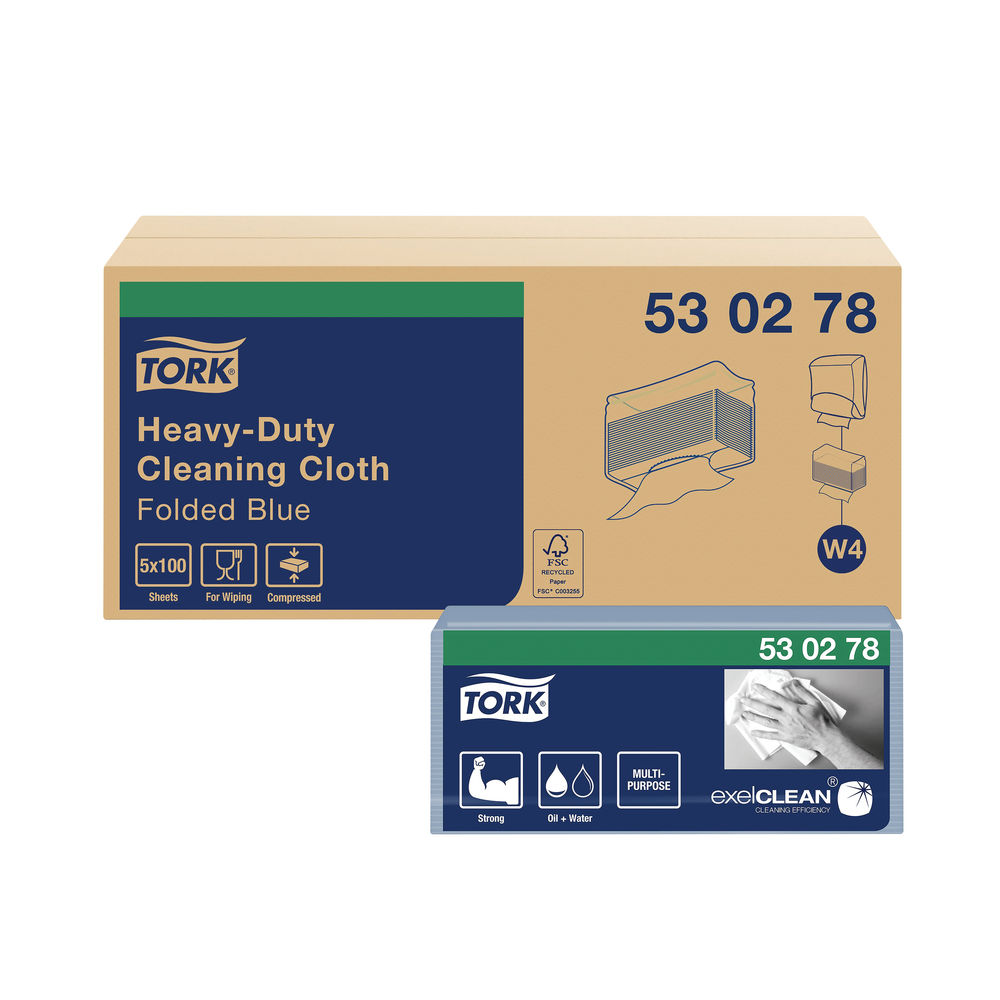 Tork W4 Blue Cleaning Cloths, Pack of 5 - 530278