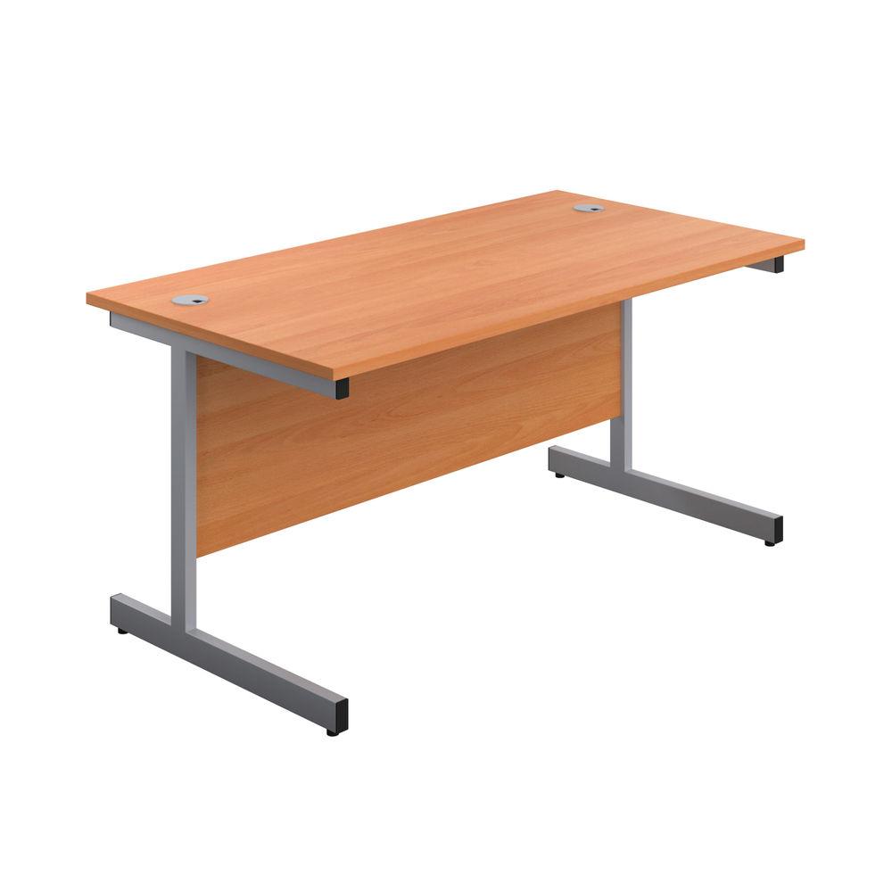 First 1800mm Beech/Silver Single Rectangular Desk