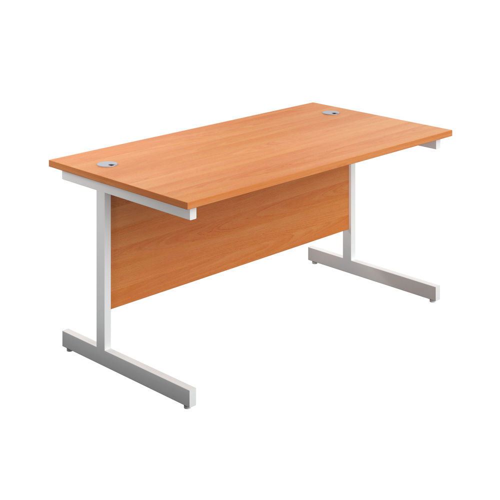 First 1800mm Beech/White Single Rectangular Desk