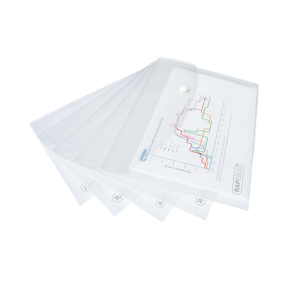 Rapesco Popper Wallet A5 Clear (Pack of 5) 1588