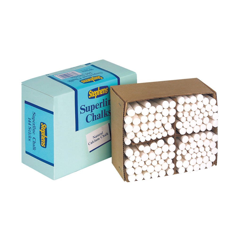 Stephens Tapered White Chalk Stick, Pack of 144 - RS522553