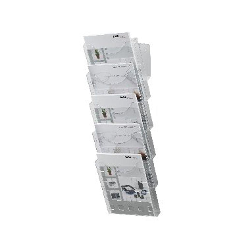 Helit Wall Literature Display A4 - 578mm x 241mm x 150mm - H61031