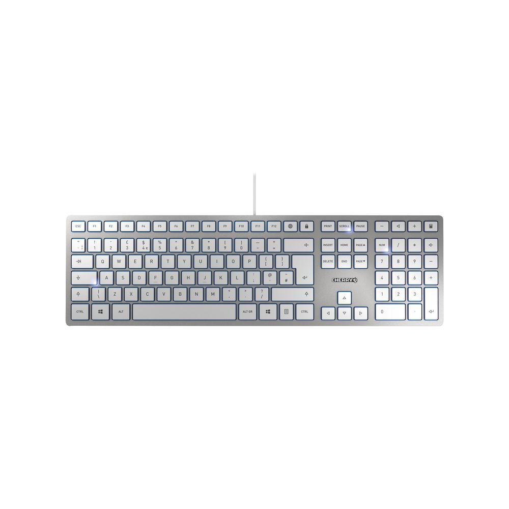 CHERRY KC 6000 Slim Ultra Flat Wired Keyboard Silver/White JK-1600GB-1