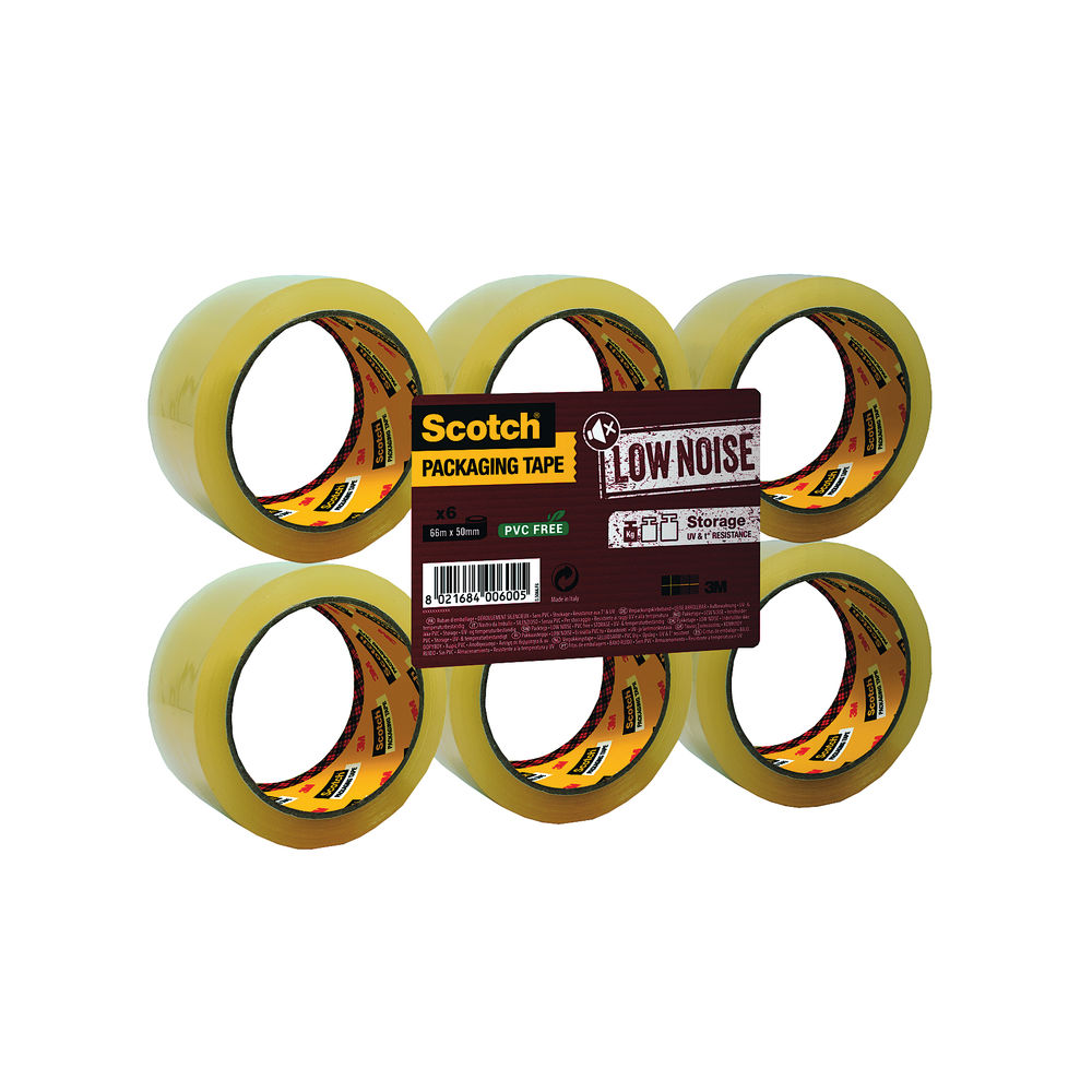 Scotch Packaging Tape Low Noise 48mmx66m Clear (Pack of 6) 3707