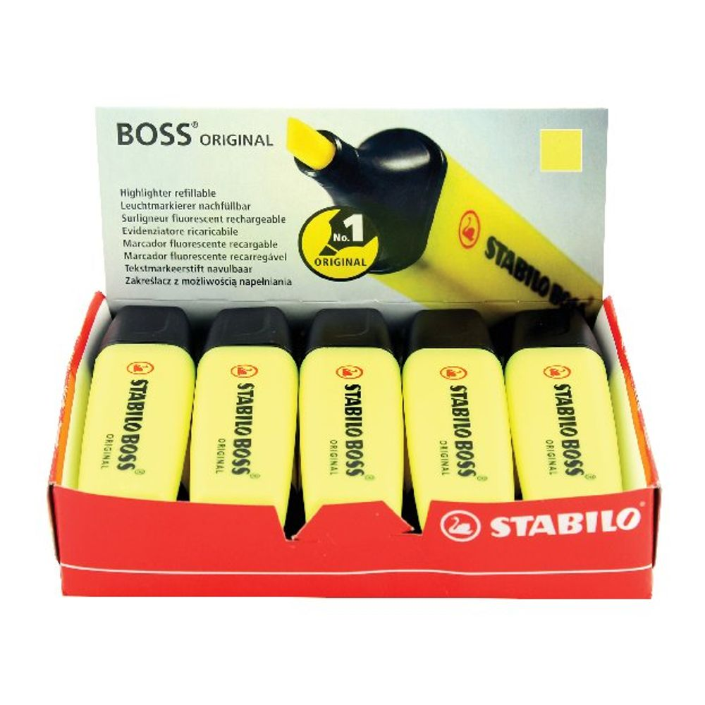 STABILO BOSS Original Yellow Highlighters, Pack of 10 - 70/24/10